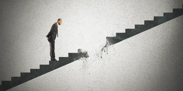 man on dissolving stairs representing disaster insurance